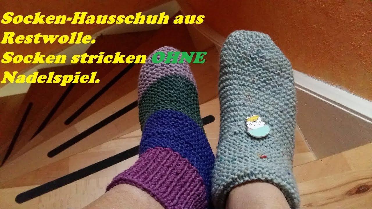 351*Socken Hausschuhe ohne Nadelspiel stricken aus Restwolle*Stricken für Anfänger