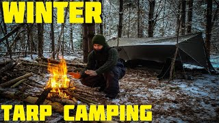 WINTER TARP CAMPING - Cooking Chicken On A Stick - Long Fire - Beer Can Lantern