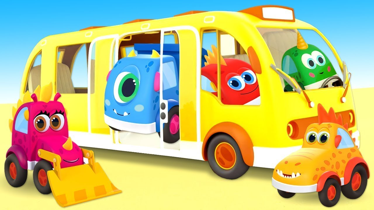 Sing with Mocas - Little Monster Cars! The Wheels on the Bus Go Round and Round kids' song.