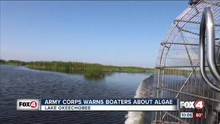 Army corps warns boaters about algae
