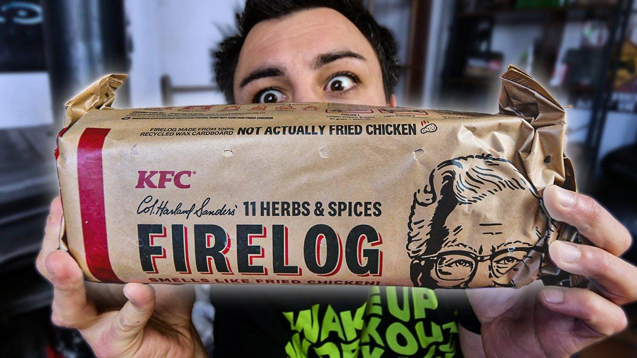 Je teste la BUCHE DE BOIS KFC au poulet frit !
