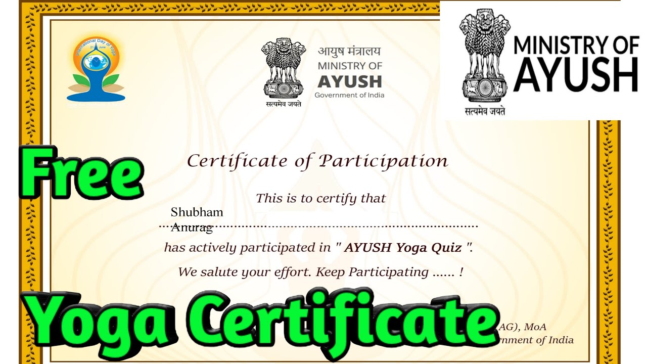Yoga Quiz Ayush Free E Certificate Online Quiz Competition With Certificate 2020 Youtube