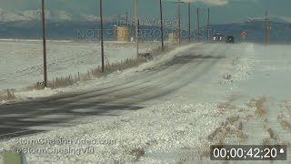 Icy Roads and blowing snow cause several cars to crash in Evans, CO 11/11/2015