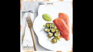 Labeyrie x Gaël Orieux, chef étoilé - Saumon fumé Sauvage, poireaux au nori & pistou de salicornes
