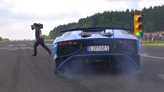 AVENTADOR LP750 SV ALMOST HITS CAMERAMAN!