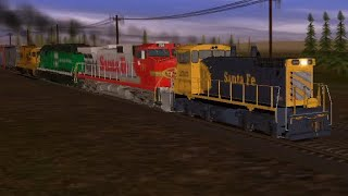 Mixed Up Bnsf And Santa Fe Freight Train In Trainz 2 From Youtube