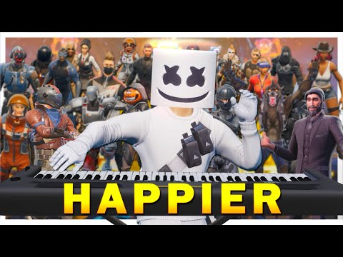 "24 players play ""Happier"" on Fortnite piano thumbnail"