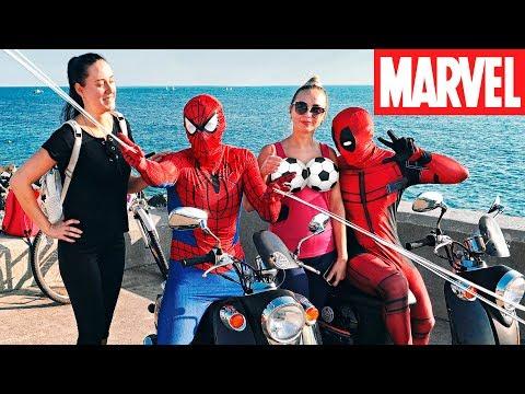 Пикап девушек на байках | ПРАНК - Реакция людей на супергероев
