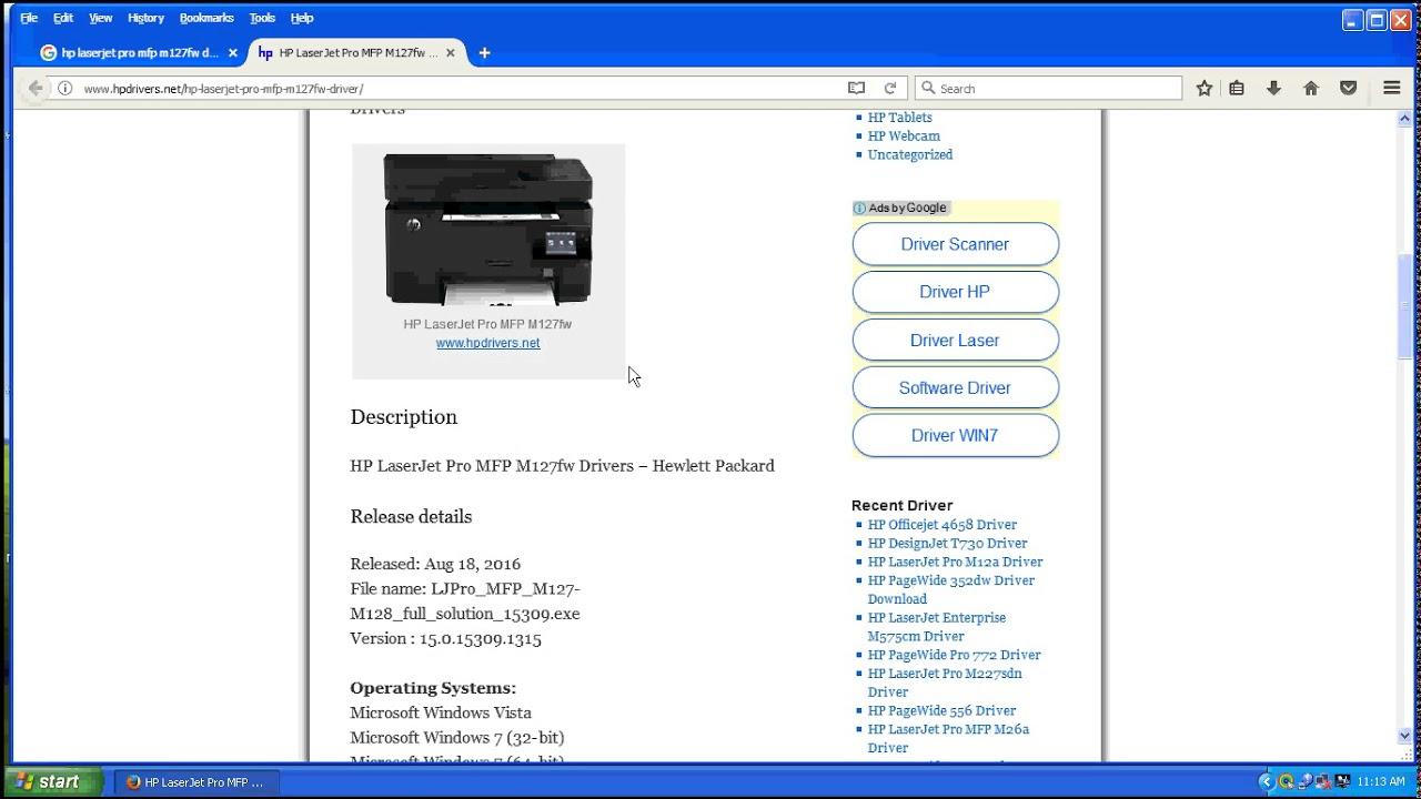 descargar driver impresora hp laserjet pro mfp m127fn gratis