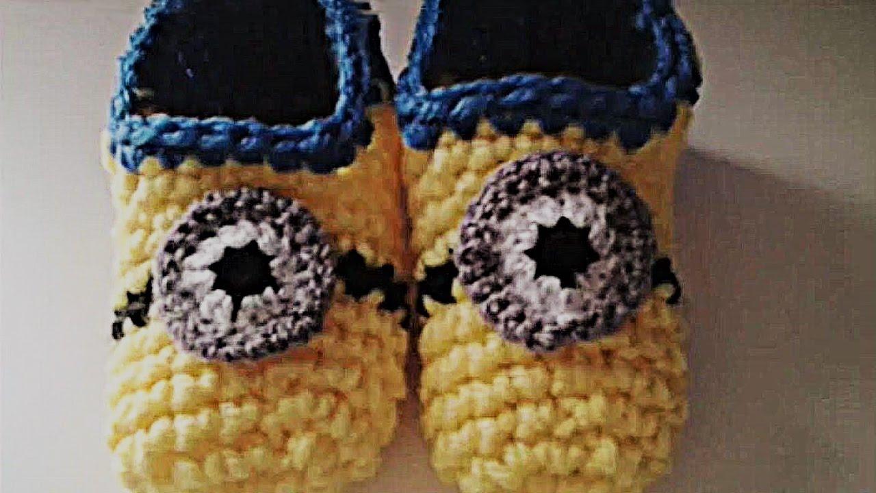 1b162fc7ff2 Zapatillas minion crochet (ganchillo) muy fácil y rápido - YouTube