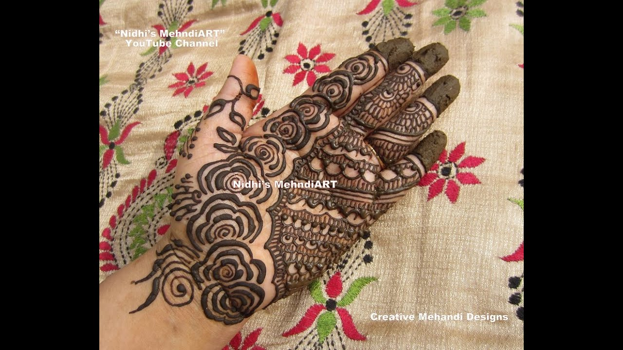 Mehndi Designs Rose : Fusion traditional rose flower henna mehndi design tutorial for