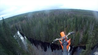 Dirt bike BASE jump - 40m high
