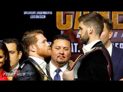 ROCKY FELDING TOWERS OVER CANELO ALVAREZ IN FACE OFF DURING KICK OFF PRESS CONFERENCE