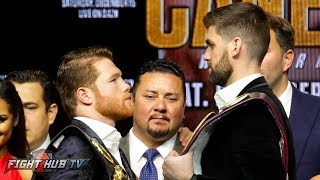 ROCKY FELDING TOWERS OVER CANELO ALVAREZ IN FACE OFF DURING KICK OFF PRESS CONFERENCE thumbnail