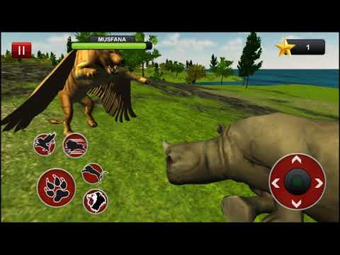 Flying Lion: Buffalo Launches Predator Into The Air - Flying Lion - Wild Simulator Android Gameplay