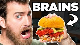 Nashville Hot Brains Sandwich Taste Test | FOOD FEARS