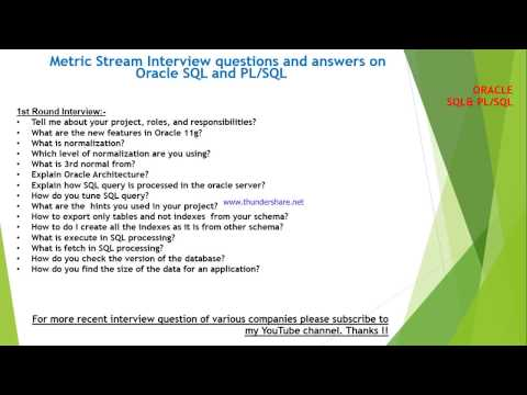 Metricstream Interview questions and answers on SQL and