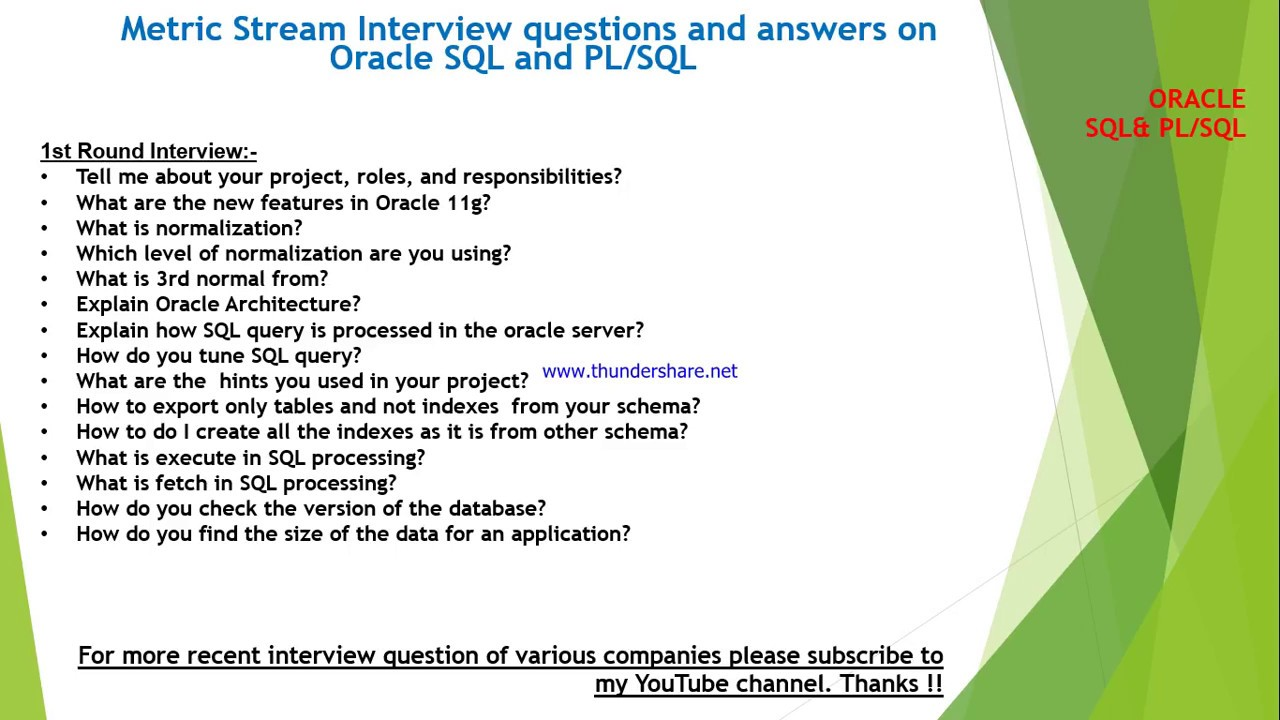 Metricstream Interview Questions And Answers On Sql Plsql