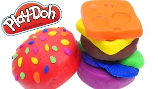 Rainbow Play Doh Cheese Burger | How To Make a Rainbow Playdough Cheeseburger with DCTC