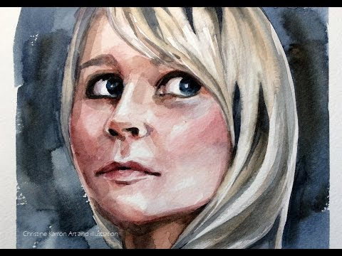 Watercolor Portrait Sketch Blond Hair Painting by Ch.Karron
