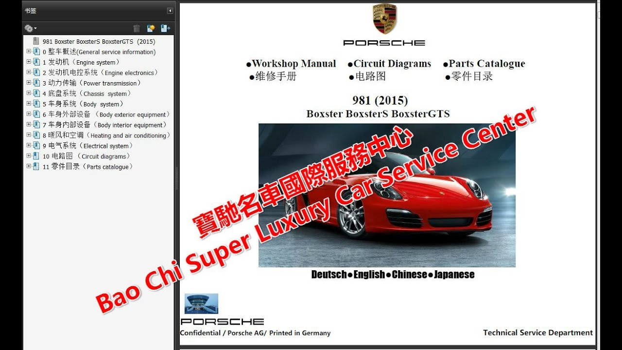 Porsche Boxster Cayman 981 987 Workshop Repair Manual  Wiring Diagram   Owners Manual