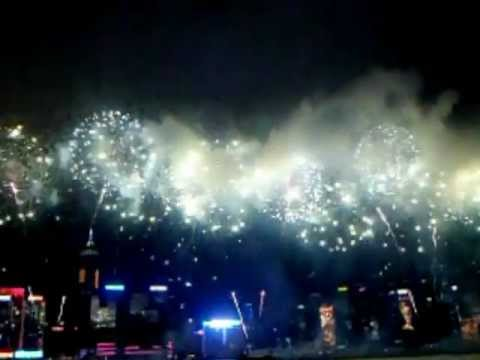 Frontview Of The Hong Kong Chinese Lunar New Year's Fireworks 2013