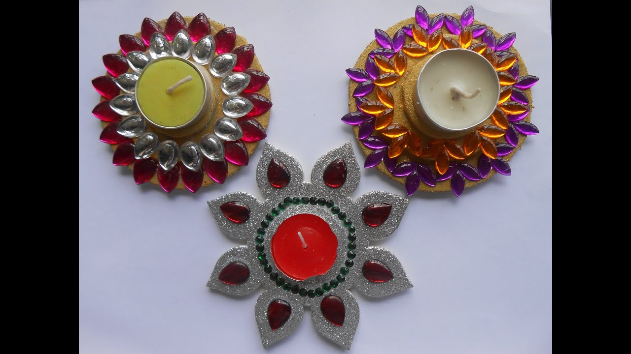 Decorate silver floating candle diya at home youtube for Diya decoration youtube