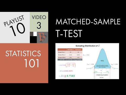 Statistics 101: Two Populations, Matched Sample t-test