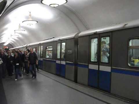 Moscow metro train departs from Novoslobodskaya