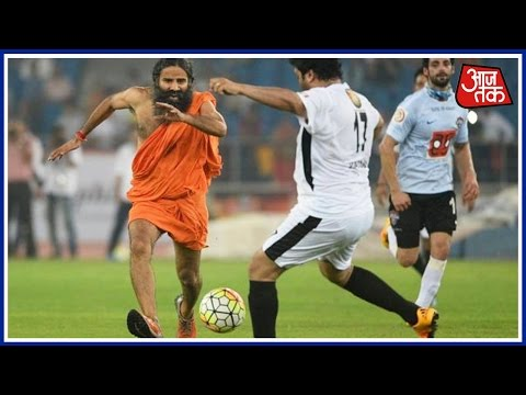 Baba Ramdev Plays Dribbles Football To Promote Girl Child Campaign
