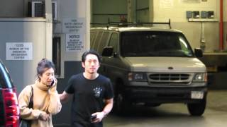 Steven Yeun and his fiance in New York after The Walking Dead Premiere