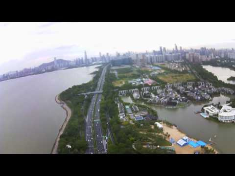 MJX B2C Brushless GPS Quadcopter Drone camera test over China Shenzhen Bay Park
