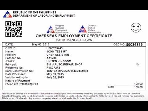 How to get OEC ( Overseas Employment Certificates)