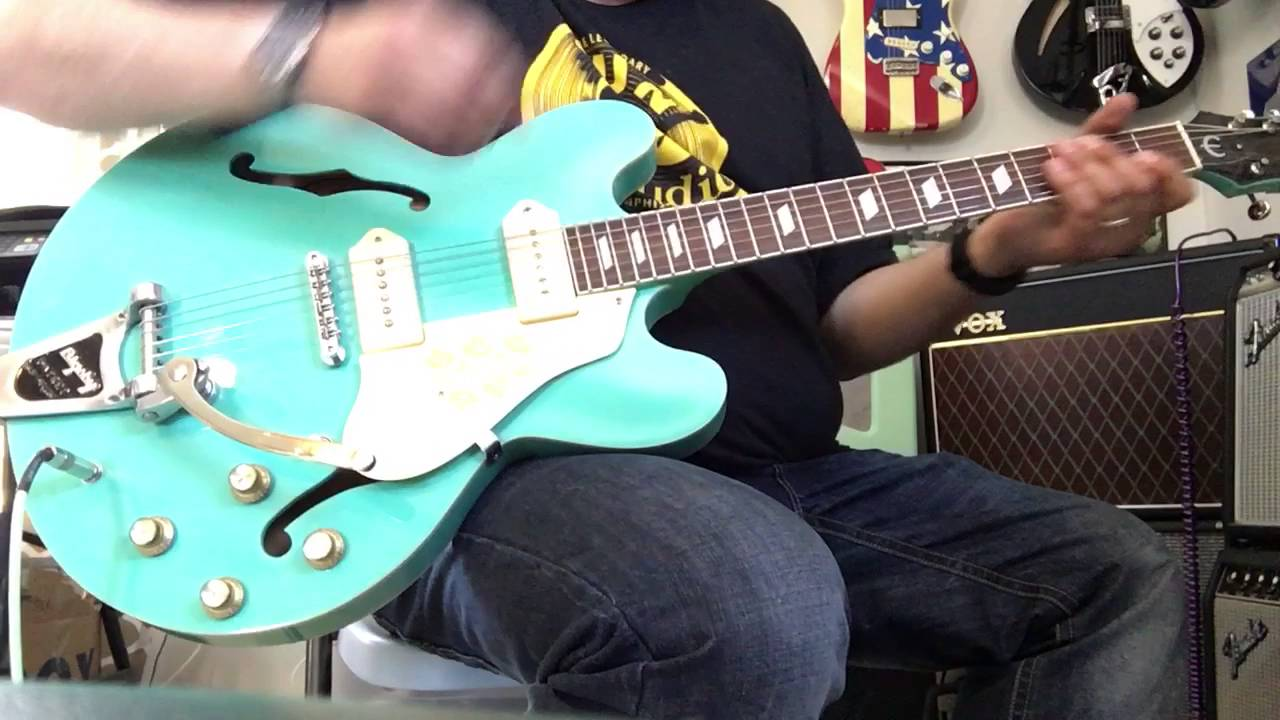 lindy fralin p90 noiseless pickups review on an epiphone casino turquoise youtube. Black Bedroom Furniture Sets. Home Design Ideas