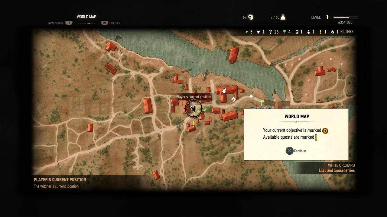 The Witcher 3: Wild Hunt - Points of Intrest Tutorial Message: World Map,  Navigation & Objectives