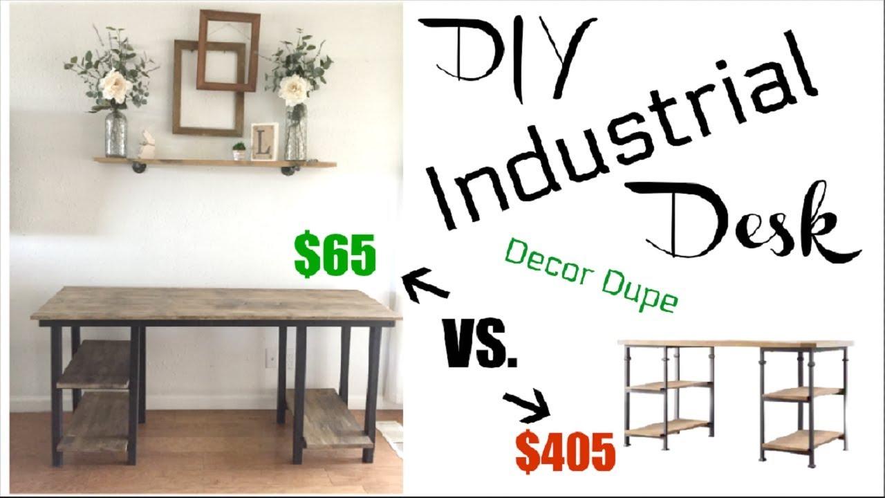 diy industrial farmhouse desk 65 how to build a desk momma from rh youtube com diy industrial desk and shelves diy industrial desk and shelves