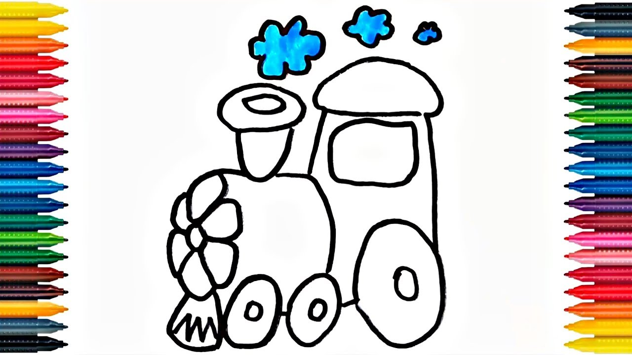 Drawing Train Learn How to Draw Train Colors Picture Coloring Book ...