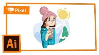 Рисуем зимнего персонажа в Adobe Illustrator | уроки для новичков
