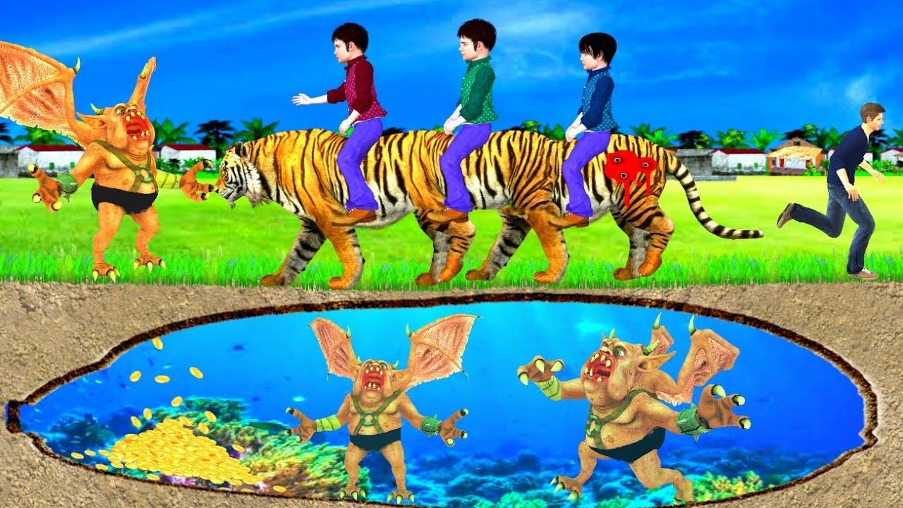 लंबा Tiger सनकी Gunda Kahani 3D Hindi Kahaniya Bed Time Stories हिंदी कहानिया