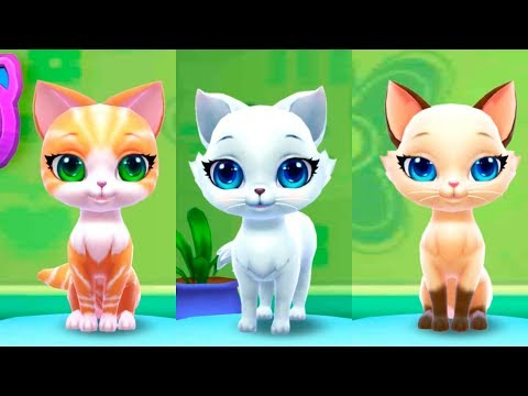 Видео про пушистиков котят в детской игре для детей Играю и ухаживаю за милым котенком