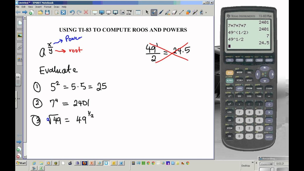 Ti 83 Tutorial Powers And Roots Exponents Youtube