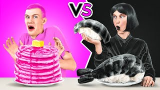 BLACK VS PINK FOOD CHALLENGE || Eating Everything Only In 1 Color For 24 Hours By 123 GO! CHALLENGE