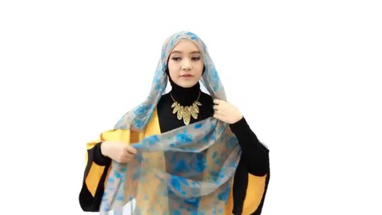 Tutorial Hijab Pashmina Chiffon Floral Stylish YouTube