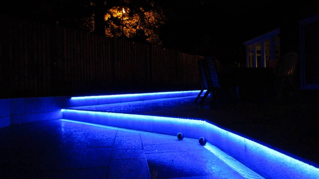 Colour changing LED installed for patio lighting