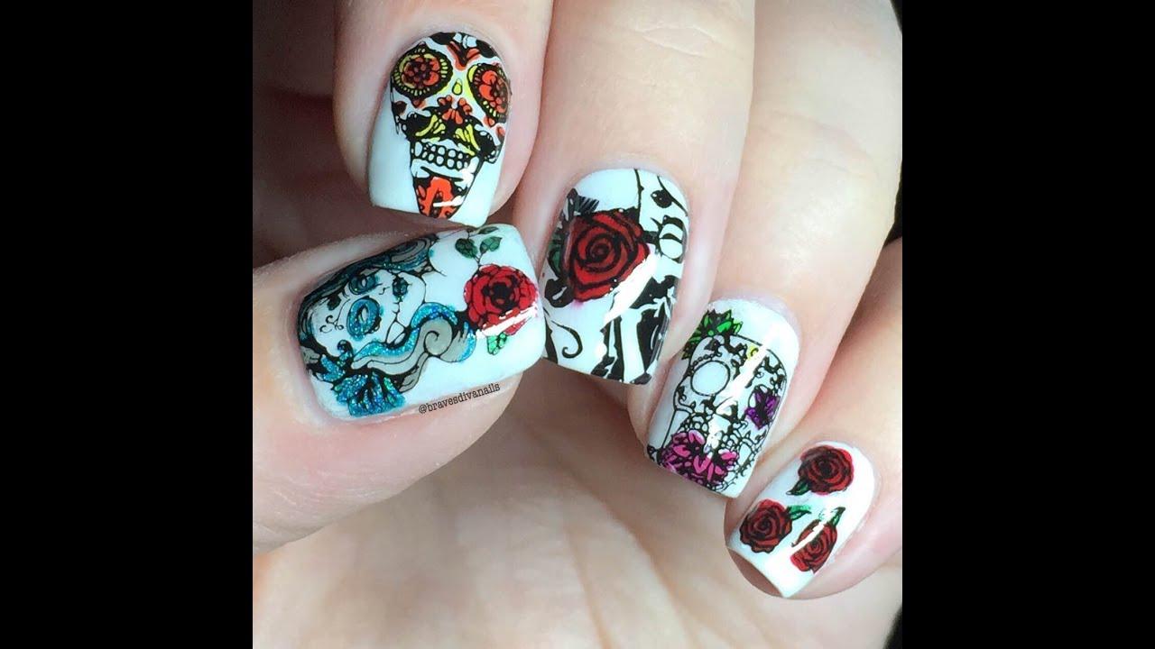 Nail Art Tutorial Sugar Skulls Reverse Stamping Using Uberchic