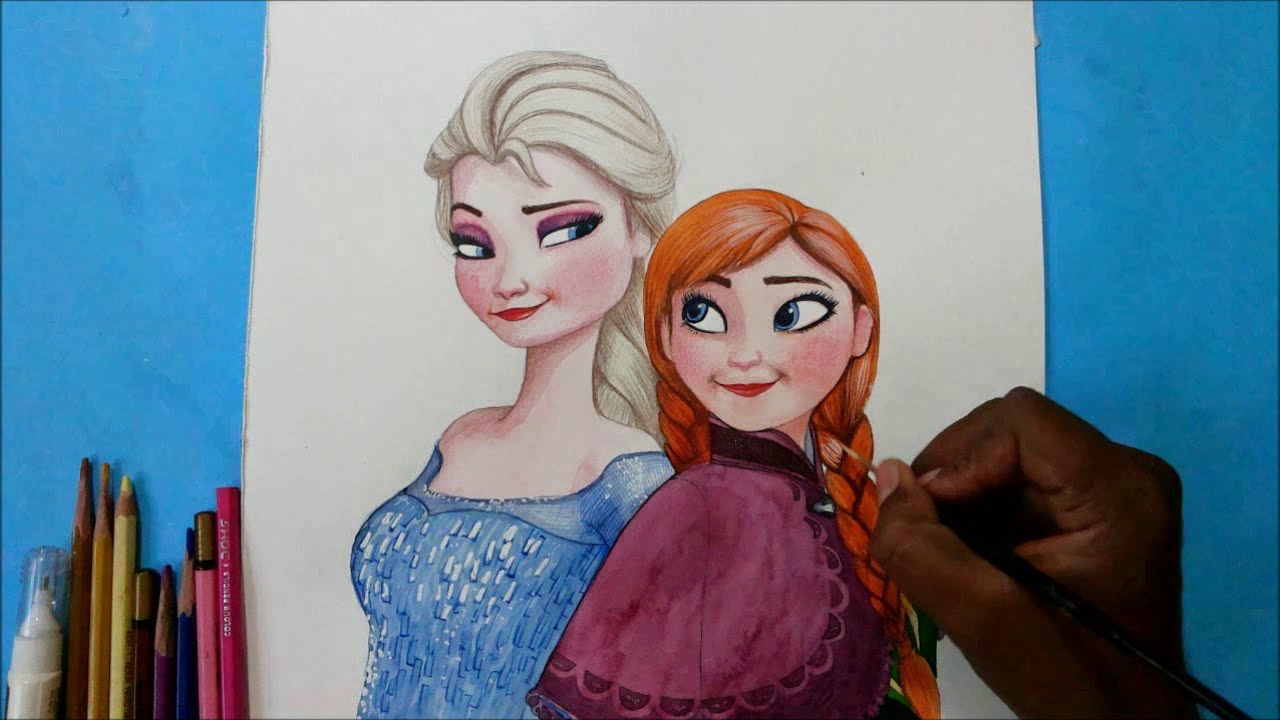 How To Draw Elsa And Anna Together From Frozen Movie Speed Painting Character Drawing How To Draw Elsa Frozen Movie