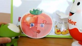 Відео з іграшок Ам ням збирає пазли овочі з Киндерино Om Nom