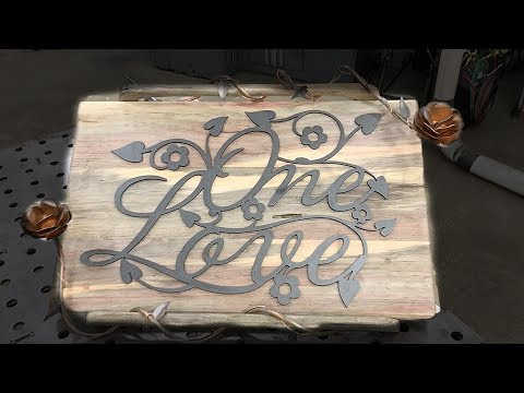 One Love Wall Art with Handmade Metal Roses