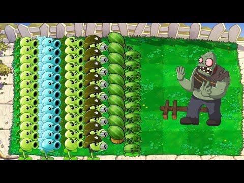 All Pea PvZ Vs Gargantuar Vs Zombies - Plants Vs Zombies Minigames Zombotany 2