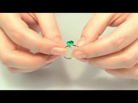 Кольцо серебряное с изумрудом нано Агния